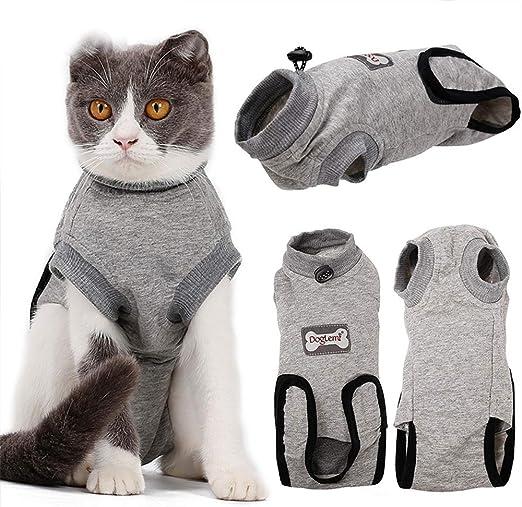 BVAGSS Traje de Recuperación Anti-mordida E Algodón Alternativo Camisa para Gatos y Perros, heridas y Enfermedades de la Piel en Interiores XH008 (S, Grey): Amazon.es: Productos para mascotas