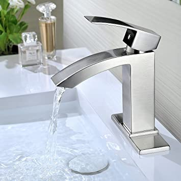 Incroyable Purelux Gibbon Contemporary Design One Handle Bathroom Sink Faucet With  Deck Plate, CUPC NSF Lead