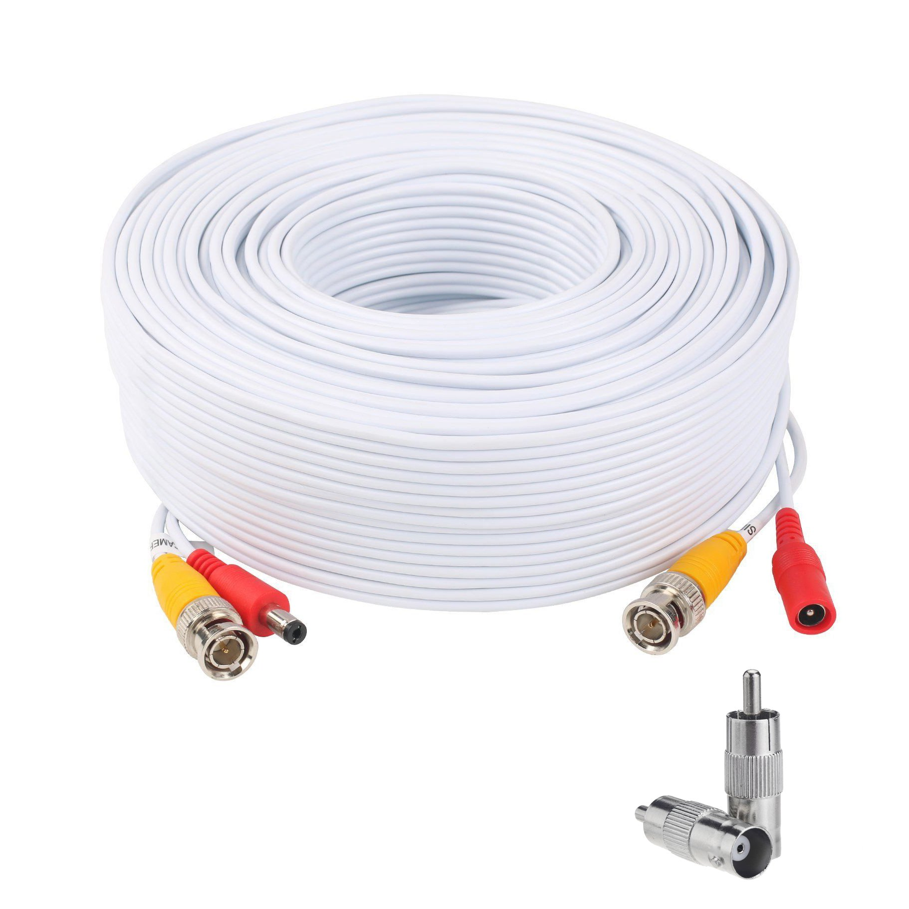 Lknewtrend 300 Feet Pre-Made All-in-One Siamese BNC Video and Power Cable Wire Cord with Two BNC to RCA Connectors for CCTV Security Camera & DVR (White) by Lknewtrend