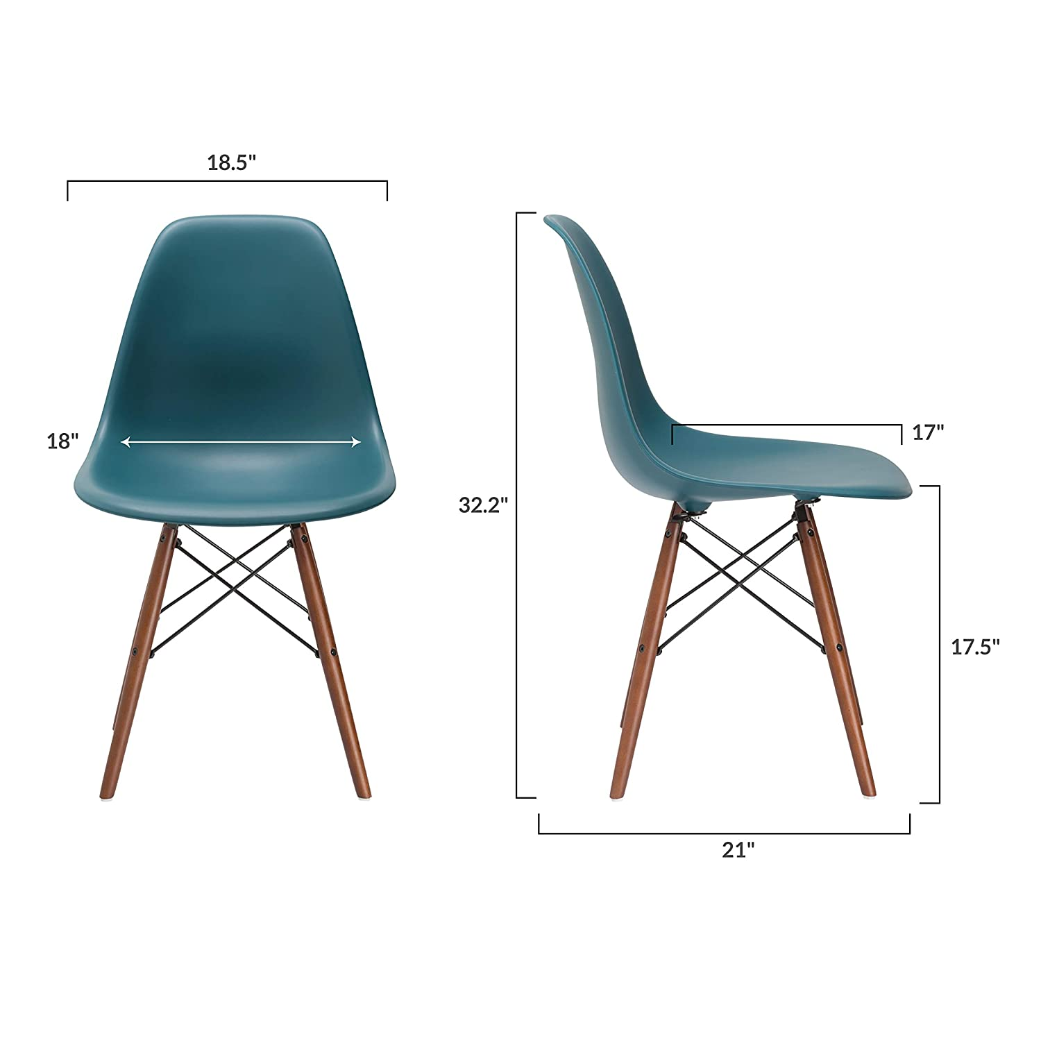 Poly And Bark Vortex Modern Mid Century Side Chair With ...