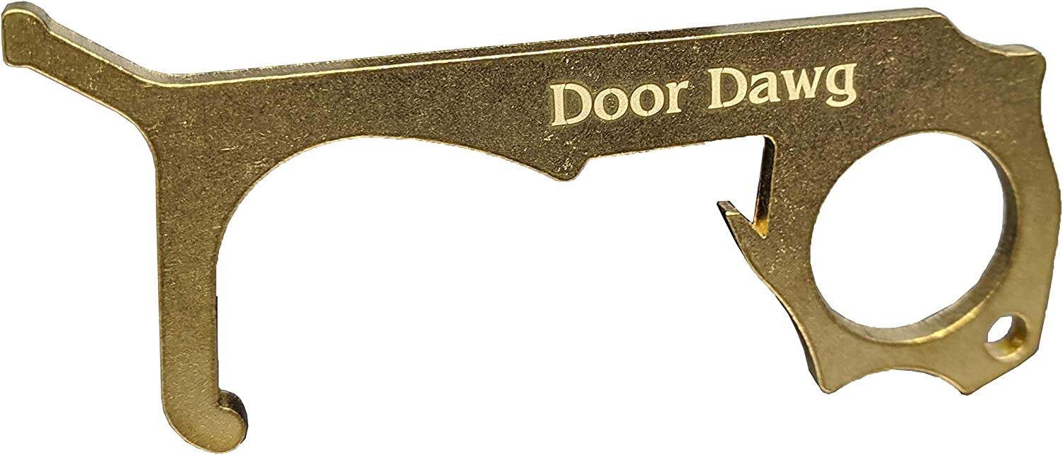 """Hygienic No-Touch""""Door Dawg"""" Handle Puller Door Opener & Keypad Stylus Made in USA Made out of Brass 260 Clean and Classy (1)"""