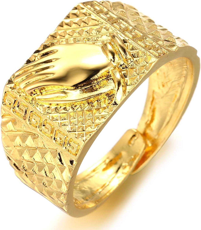 Halukakah ● Kings Landing ● Hombres 18k Oro Verdadero Plateado 3D León Corona/Juntando Las Manos/Medusa Set de 3 Anillos Tamaño Ajustable con CajaDeRegaloGRATIS