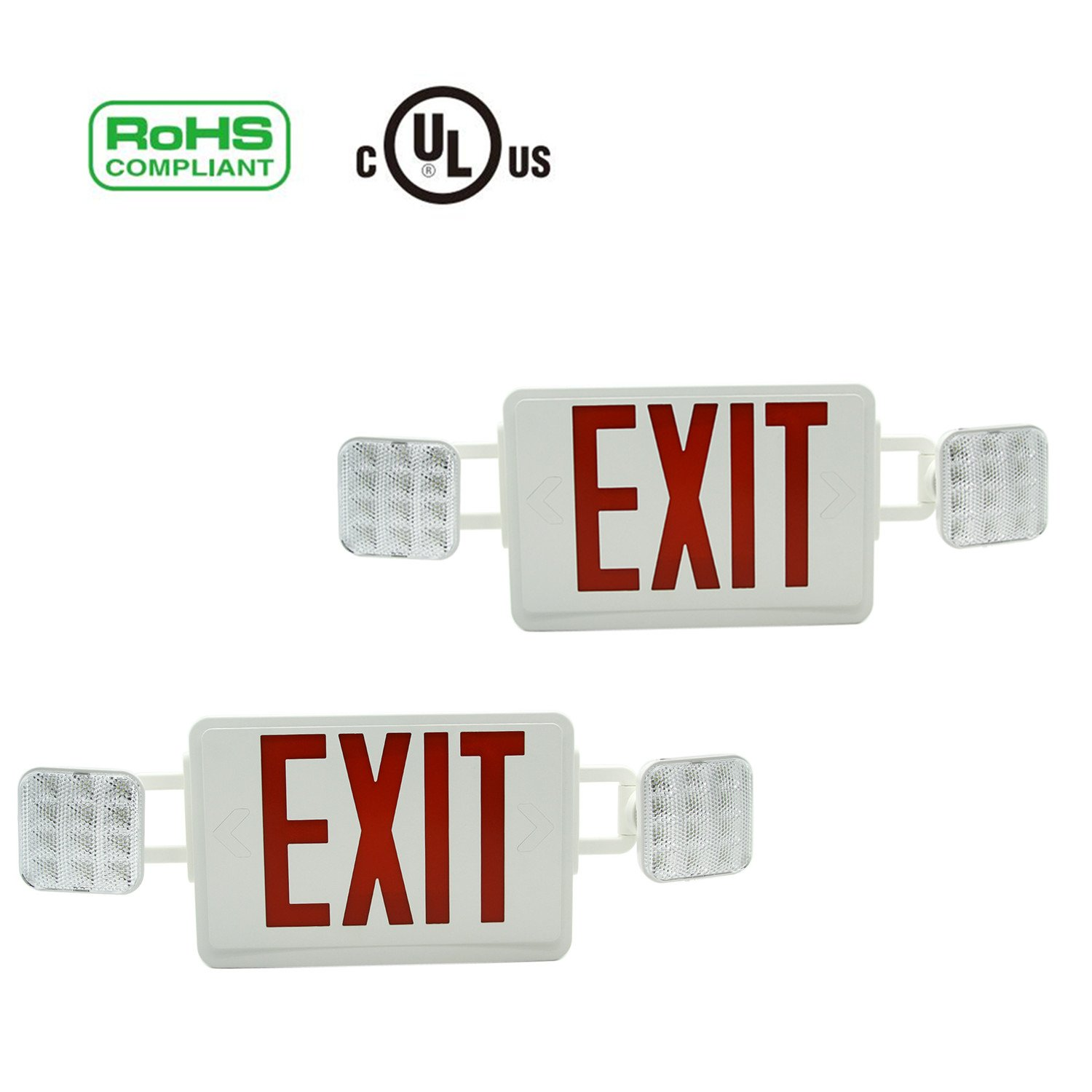 4 Pack DOIT 4 Pack New Compact Size LED Emergency Combo UL and CULus Listed Red Letters
