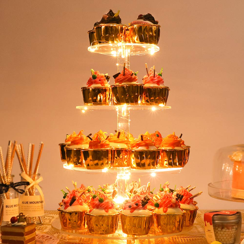 YestBuy Acrylic Cupcake Stand(4 Tier Round Yellow)