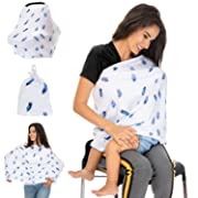 Stretchy Car Seat Canopy, Nursing Cover for Breastfeeding Baby, Stroller Wrap, Shopping Cart Protector for Boys, Girls – Breathable 4-in-1 Multi Way Stretch Motherhood Infinity Travel Scarf Shawl
