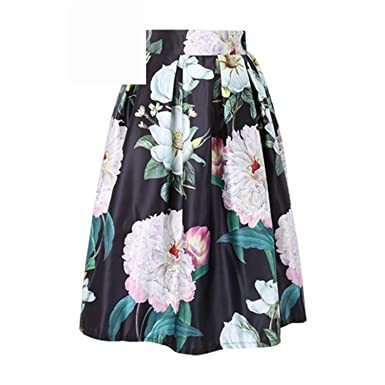 24ab0bb16e Eault Elegant Floral Print Knee-Length Skirt Fashion 2016 Blue White  Vintage Ball Gown Pleated