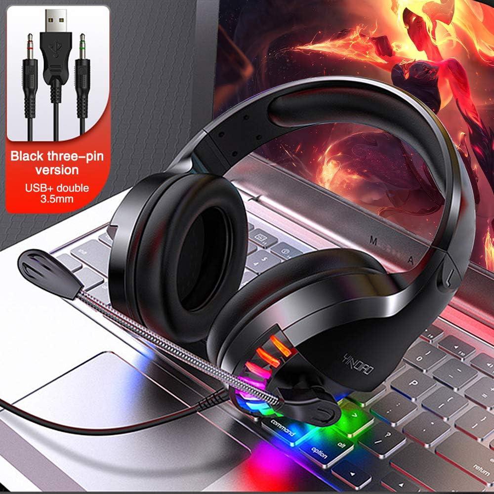 Cuffie da Gioco con 3.5mm Jack per PC Cuffie da Gaming con microfono,Cuffia Gamer Laptop Smart Phone,PS4 Controllo del Volume Illuminazione a LED Cuffie da Gaming Mac Bizcasa Cuffie Gaming
