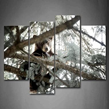 First Wall Art - Bear Climb On Tree Look Down Wall Art Painting Pictures Print On Canvas Animal The Picture For Home Modern Decoration