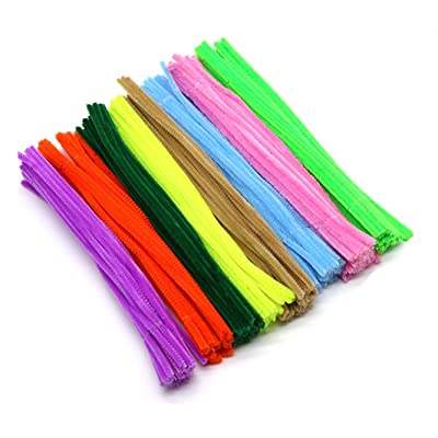 mollensiuer 300Pcs Colorful Pipe Cleaners Chenille Stems Bulk for DIY Art Craft Decorations 6 mm x 12 Inch: Toys & Games