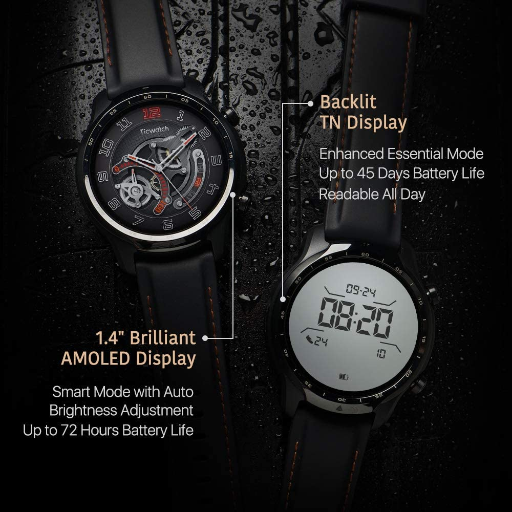 Up to 3 Days Long Battery Life Dual-Layer Display 2.0 Ticwatch Pro 3 GPS Smartwatch for Men and Women Qualcomm/® Snapdragon Wear/™ 4100 Platform,Wear OS by Google