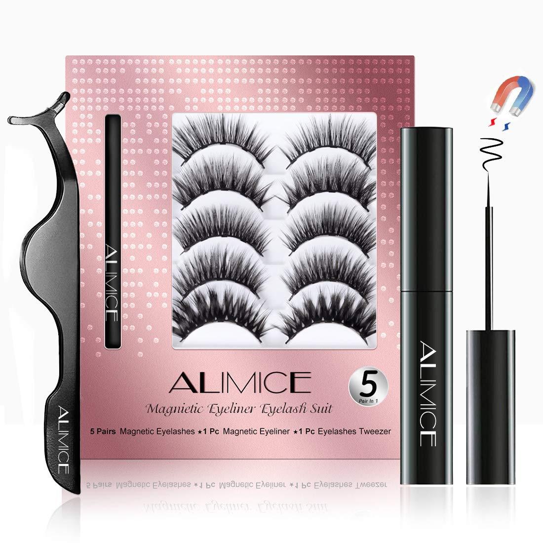 5 Pairs Magnetic Eyelashes with Eyeliner - Magnetic Eyeliner and Lashes Kit Natural Look - Magnetic Lashes with Magnetic Eyeliner - No Glue Needed