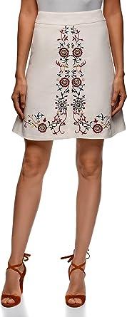 oodji Ultra Mujer Falda de Lino con Bordado, Blanco, ES 42 / L ...