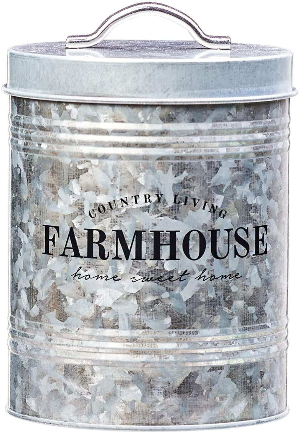Amici Home Farmhouse Galvanized Canister Canister-76 oz, 76 oz, Gray