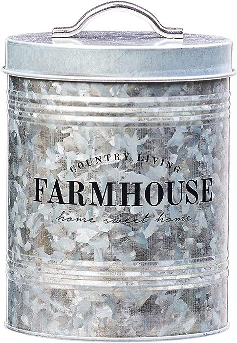 Amici Home Farmhouse Galvanized Canister Canister-76 oz, 76 oz, Gray
