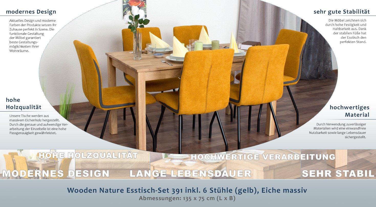 Wooden Nature Esstisch-Set 391 inkl. 6 Stühle (gelb), Eiche massiv ...