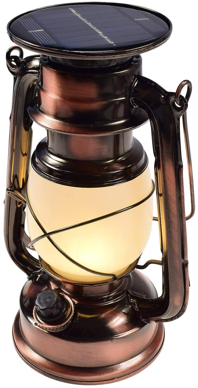 LED Solar Retro Sturmlampe Lithium-Akku Metallgeh/äuse 2700 K Drehschalter mit Dimmfunktion 420 Lumen warmwei/ß