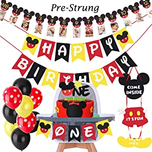 HEETON Mickey Mouse First Birthday kit Mickey 1St Birthday Cake Topper Balloons Party Decorations High Chair Banner Door Hanger Mickey Mouse Baby Boy Photo Booth Props