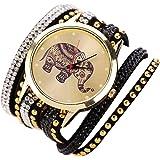 Culater® Femmes éléphant Rivet Bracelet Quartz Montre-bracelet Tressé Enroulement Pellicule Noir