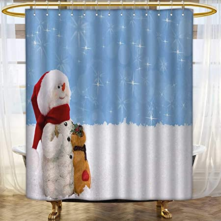 Anhounine Snowman Shower Curtains Sets Bathroom Winter Time Theme