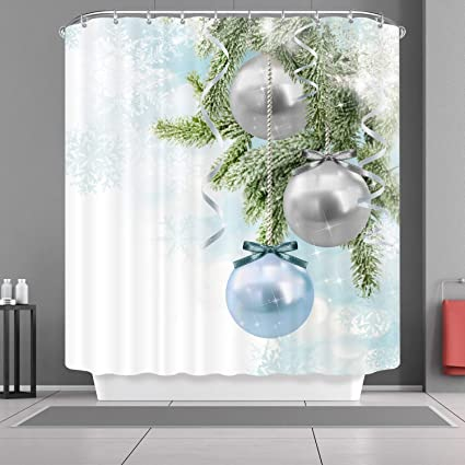 3d Printed Christmas Ornaments.3d Printed Merry Christmas Ornaments Blue Silver Balls Pine Cone Winter Snowflakes Background Waterproof Shower Curtain Bath Curtain Size 66 X 72