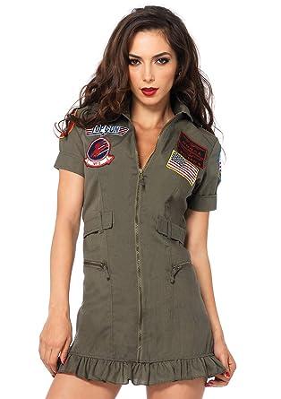 8ba35b483c4a Amazon.com  Leg Avenue Women s Top Gun Flight Zipper Front Dress ...