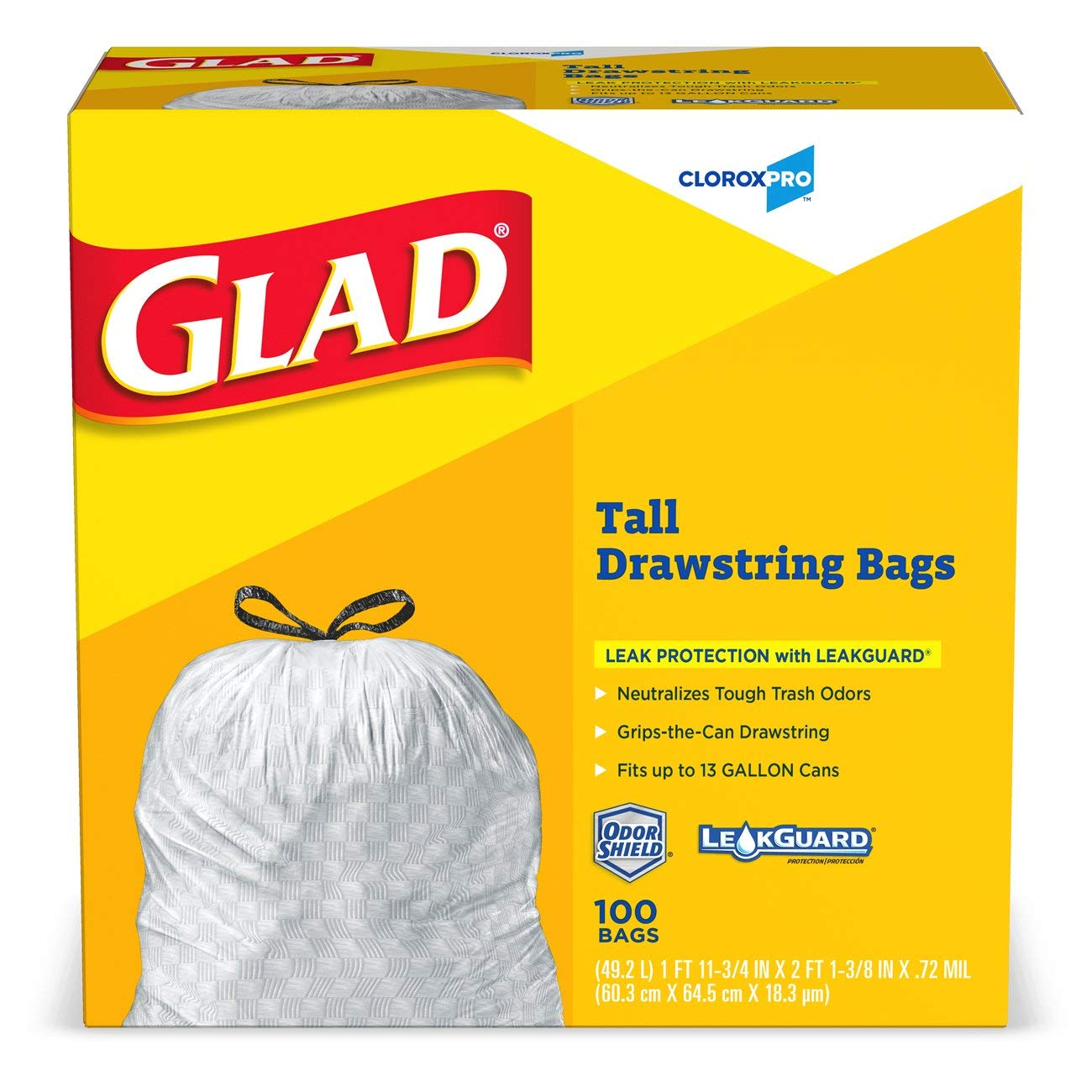 Glad Tall Kitchen Drawstring CloroxPro Trash Bags - 13 Gallon - 100 Count, 4 Boxes/Case (Packaging May Vary)