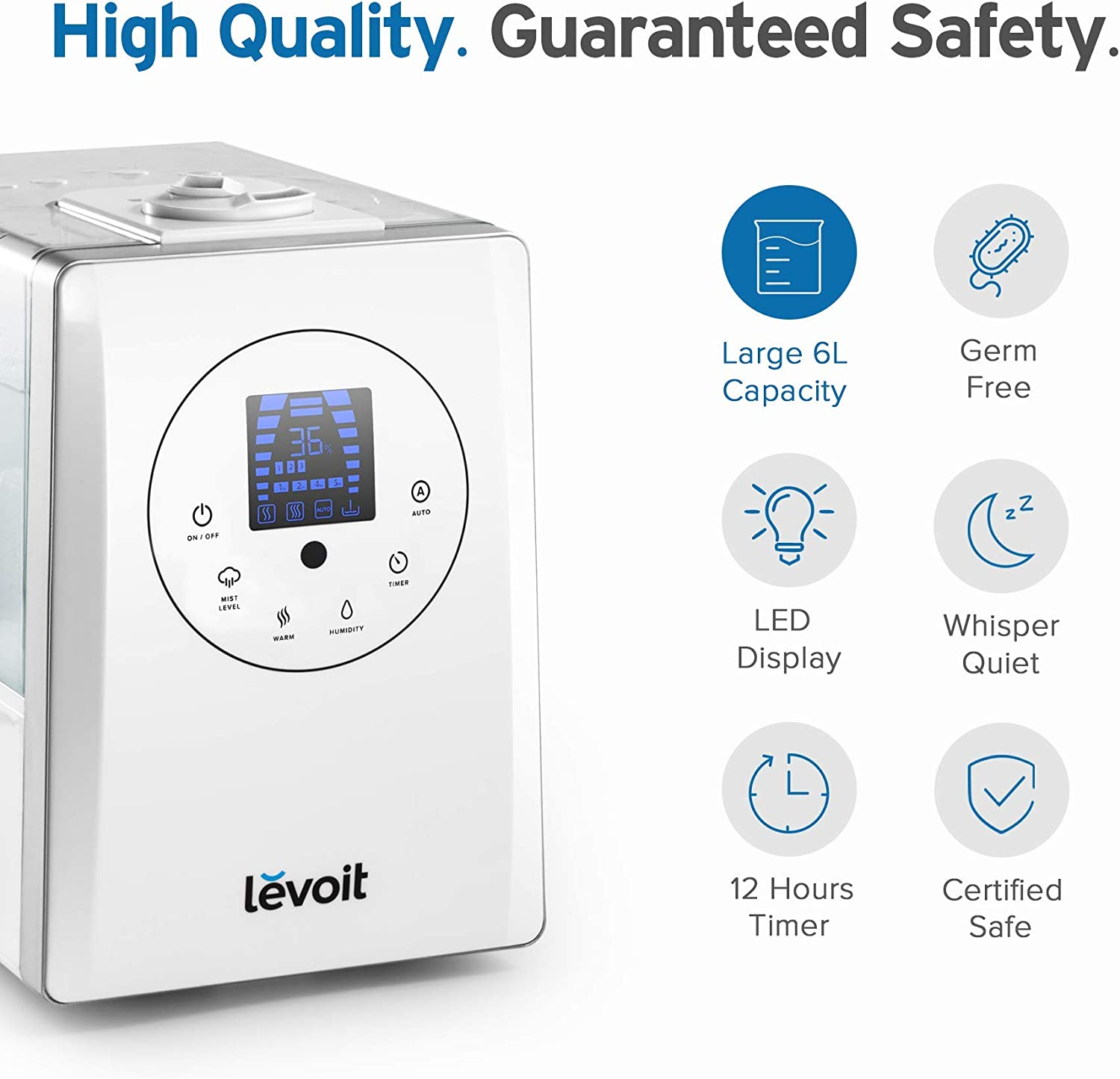 6L Warm and Cool Mist Ultrasonic Humidifier for Bedroom and Babies with Remote and Humidity Monitor Vaporizer for Large Room Renewed LEVOIT Humidifiers 2-year Warranty Germ Free and Quiet Home