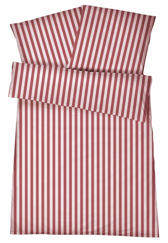Mako-Perkal Bettwäsche 135 x 200 cm - Hochwertige gestreifte Bettbezüge aus 100% feinster Baumwolle - Klassisch & Elegante bügelfreie Bettwaren-Garnitur - Made in Germany - Streifen 6 - Rot