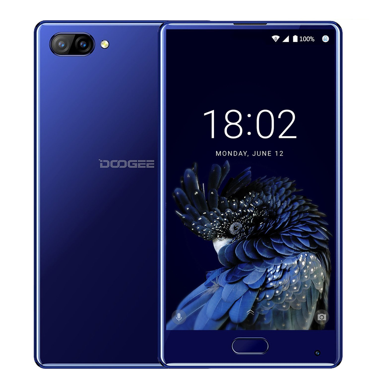 DOOGEE MIX, 4G Unlocked Smartphones Android 7.0 - 5.5 Inch AMOLED HD Screen - MediaTek Helio P25 2.5GHz - 3380mAh Battery - 4GB RAM+64GB ROM - 8MP+16MP Dual Cameras - Unlocked Cell Phones, Blue by Doogee