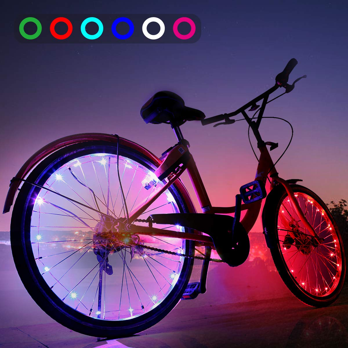 AOYOO Bicycle Wheel Light Night Light (1 Tire Pack) Waterproof 7 Color Outdoor Lighting Bicycle Tire Accessories You Can Choose Your Favorite Color 18 Flash Pattern Personality Selection, Safety Spoke by AOYOO (Image #1)