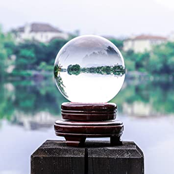 Youyijia Crystal Ball 100mm Magic Clear Glass Crystal Healing Ball Crystal Sphere with Stand Divination Sphere for Home Party and Magic Show: Amazon.co.uk: Kitchen & Home
