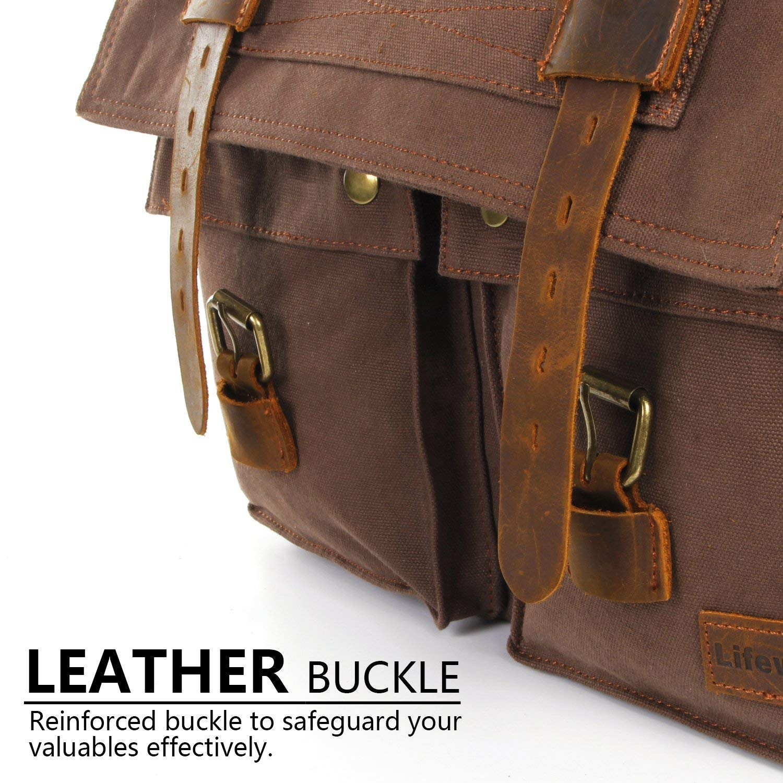 f22b47a747cb 15.6″-17.3″ Men s Messenger Bag Vintage Canvas Leather Military Shoulder  Laptop Bags