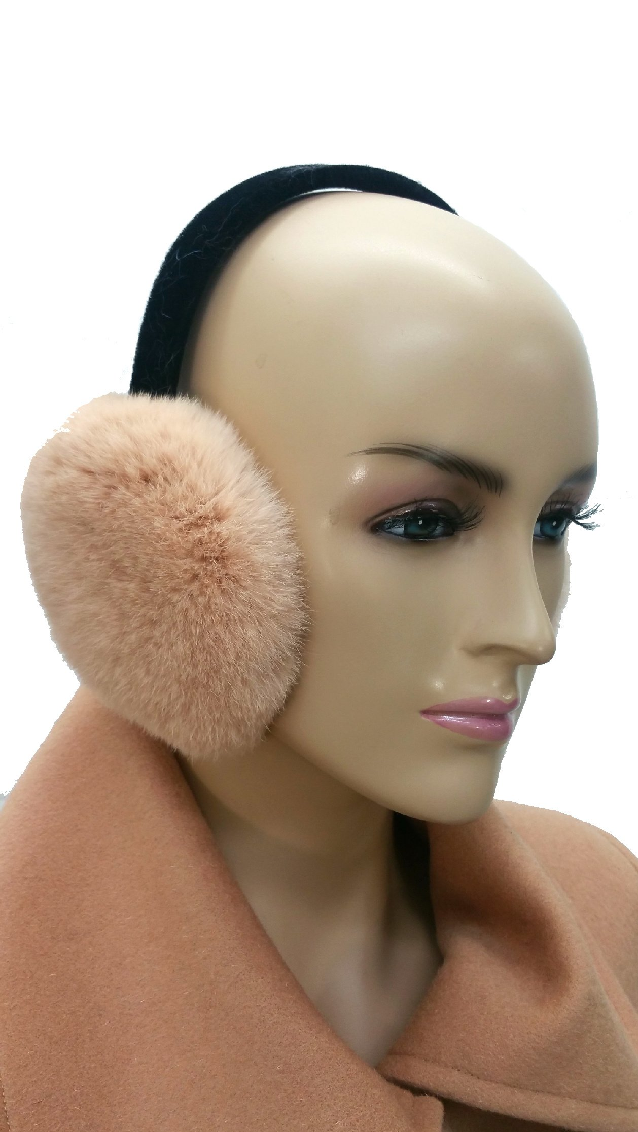 Hima 100% Rex Rabbit Earmuff (Peach Pink)
