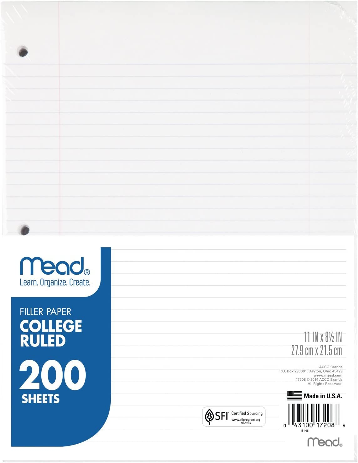 Mead Loose Leaf Paper, Filler Paper, College Ruled, 200 Sheets, 11 x 8-1/2 inches, 3 Hole Punched, 1 Pack (17208)