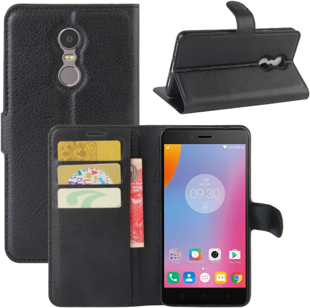 Lenovo K6 Note Case, Fettion Premium PU Leather Wallet Flip Phone Protective Case Cover with Card Slots, Stand Feature and Magnetic Closure for Lenovo K6 Note Smartphone (Wallet - Black)