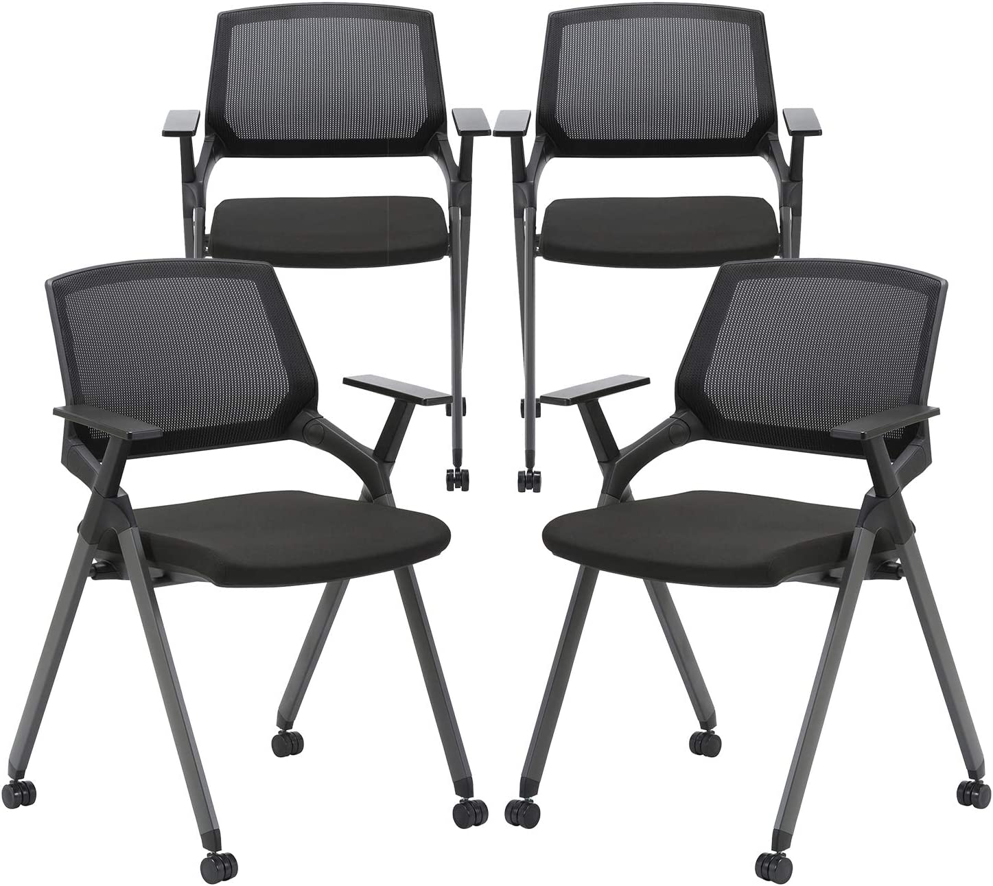 CLATINA Mesh Guest Reception Stack Chairs with Caster Wheels and Arms for Office School Church Conference Waiting Room Black (4 Pack)