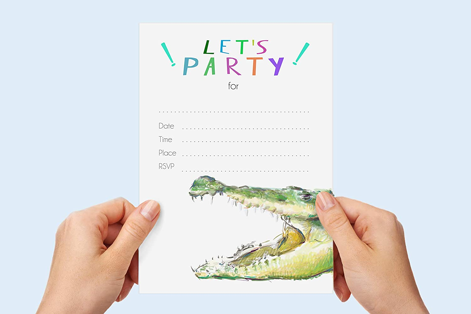 Great for Jungle Animal Theme Birthday Parties and Baby Showers for Boys with Matching Envelopes and Stickers TripleStudio Alligator Fill-in Invitations 12 pcs