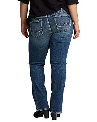 e5fb210dc22 Silver Jeans Co. Women s Plus Size Elyse Relaxed Fit Mid Rise Slim Bootcut  Jeans