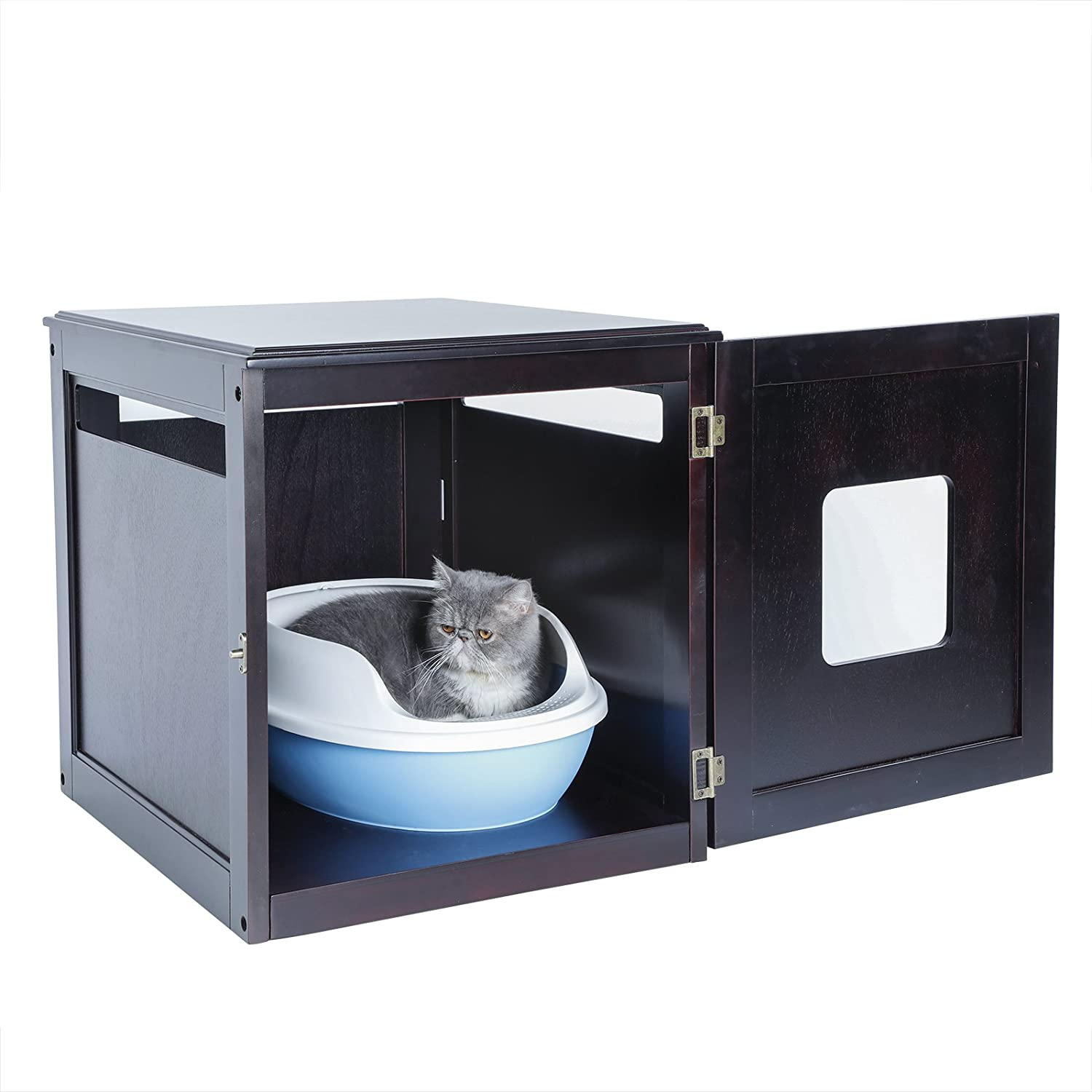 Petsfit Assemble Odorless Night Stand Pet House Litter Box Furniture with Latch Holding 20 x 24 x 21