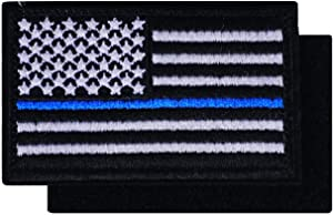 Graphic Dust Tactical Thin Blue Line Black US USA American United States Flag Embroidered Patch with Hook and Loop Army Military Uniform Costume Law Applique