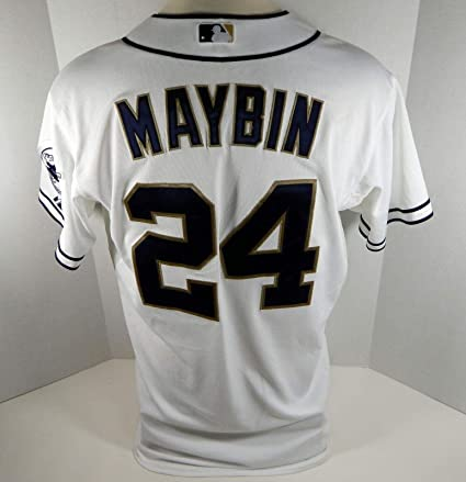 new concept 12bce 1d9da 2012 San Diego Padres Cameron Maybin #24 Game Used White ...