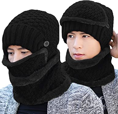 3 in 1 Kids Knitted Hat Scarf Set Thicken Fleece Lined Pom Beanie Hat Circle Scarf Boys Girls Winter Warm Ski Cap Neckwarmer Windproof Cycling Balaclava Headwear