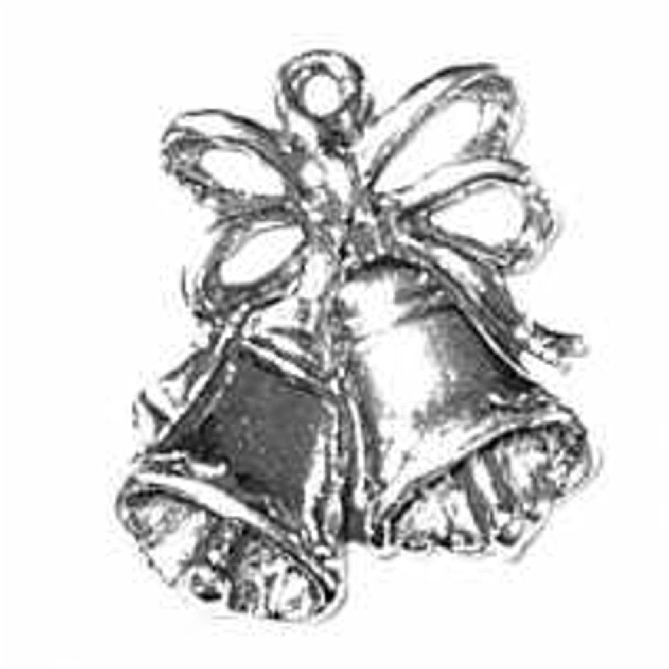 Sterling Silver Girls .8mm Box Chain 3D Wedding Bells Pendant Necklace Cute Bow Accent