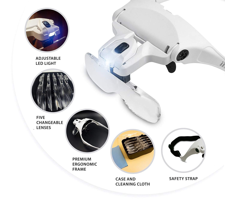 1.0X to 3.5X Professional Jeweler/'s Loupe Hands Free Professional Jewelers Loupe Hands Free 1.0X to 3.5X KINGSCOPE Head Mount LED Illuminated Head Magnifier Visor