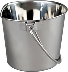 Advance Pet Products Heavy Stainless Steel Flat Side Bucket