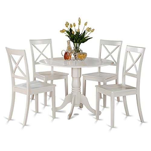DLBO5-WHI-W 5 PC small Kitchen Table set-small Table and 4 dinette Chairs
