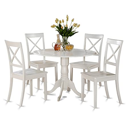 East West Furniture DLBO5-WHI-W 5 PC Kitchen Set-Small Table and 4 dinette Chairs, 5 Pieces Linen White Finish