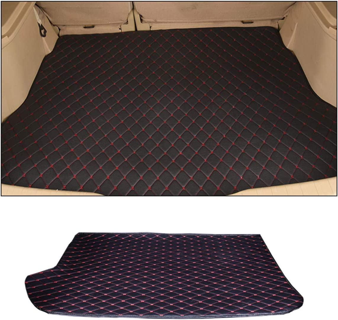 Custom Car Trunk Mats for Ford Mustang 2015-2019 All Weather Non-Slip Advanced Performance Liners Luxury Leather Full Covered Protection Cargo Mat Trunk Liner Black Red