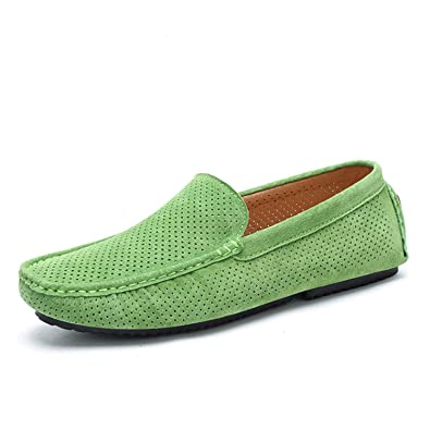 Amazon.com | Sonjer Summer Breathable Hollow Shoes Men Loafers Luxury Brand Italian Fashion Casual Boat Shoes Men Leather Green Moccasins | Loafers & Slip- ...