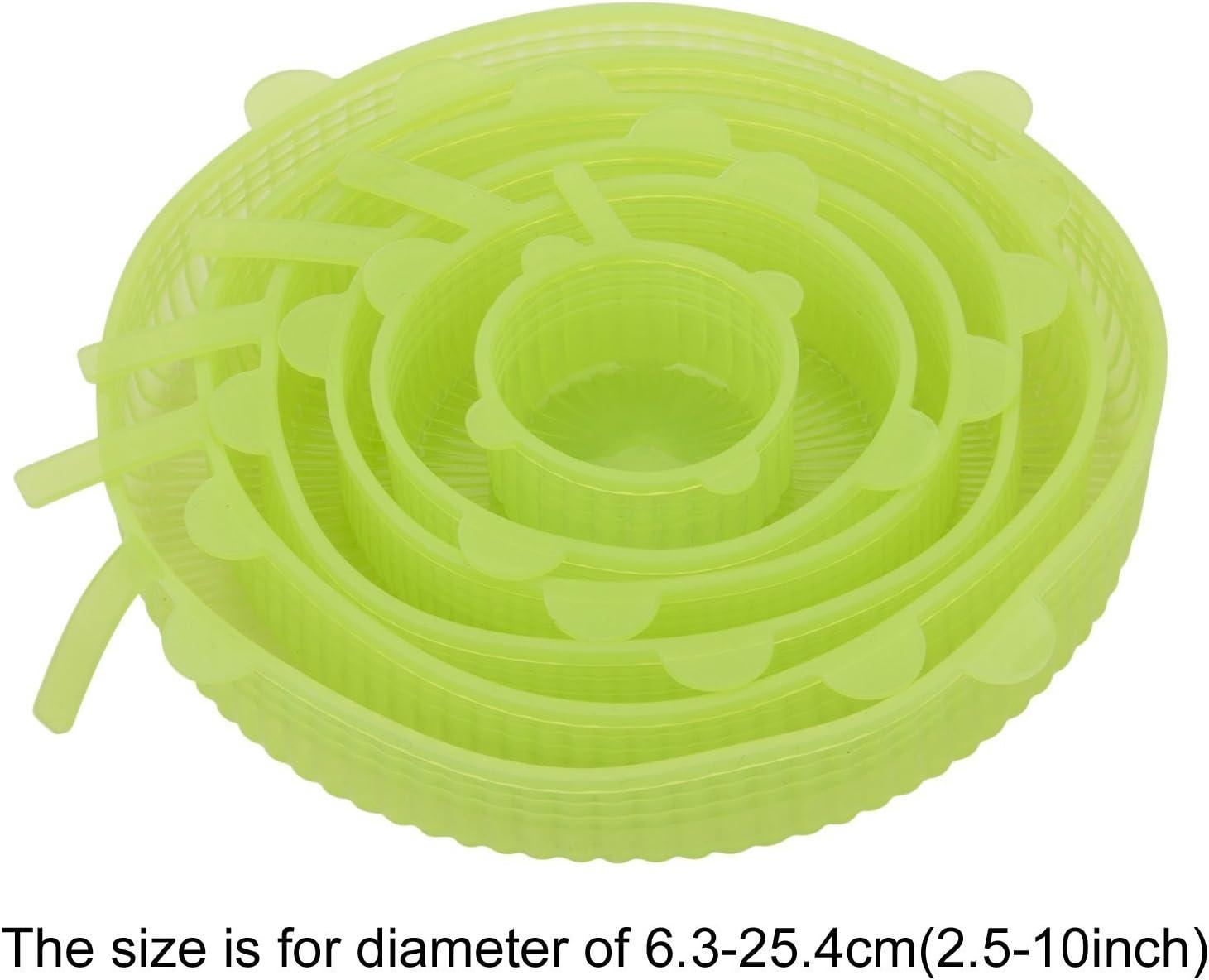 Beh/älter Lichtdurchl/ässig Greenery Langlebig /& umweltfreundlich Dehnbare Verschiedenen Gr/ö/ßen f/ür Gem/üse T/öpfe Tassen MOSISO 6-er Set Silikon Frischhalte Deckel Obst Gl/äser Becher